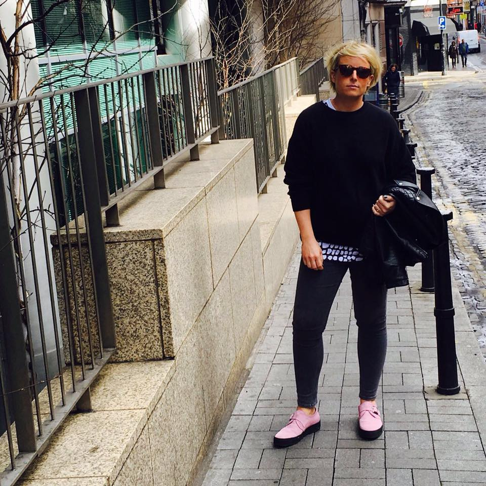 Girl on Dublin street with pink shoes