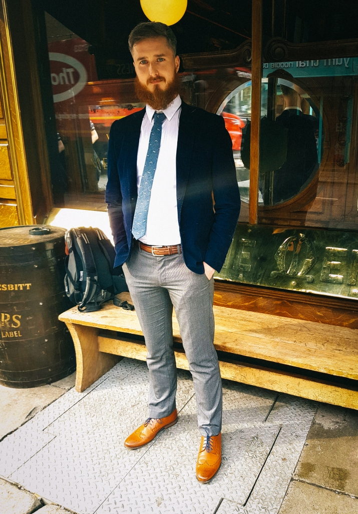 Man with beard in front of mirror in Dublin