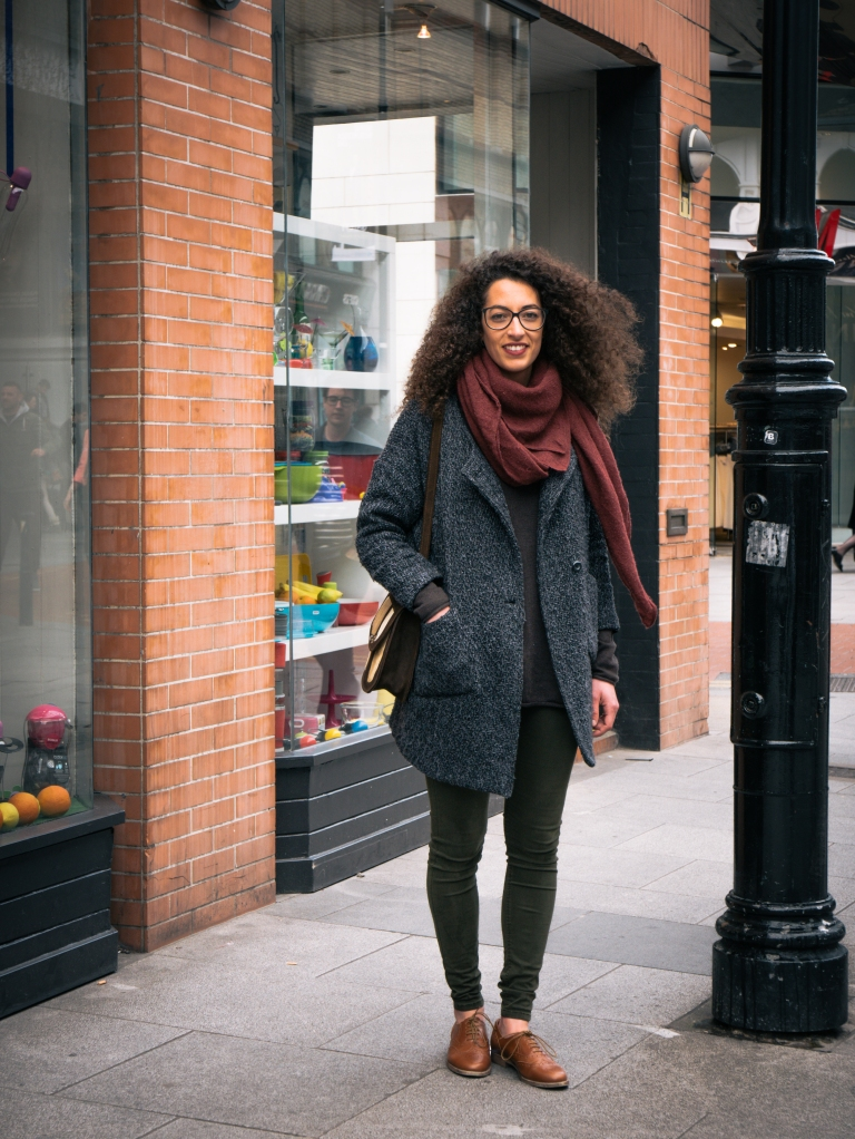Spanish woman in Dublin with red scarf