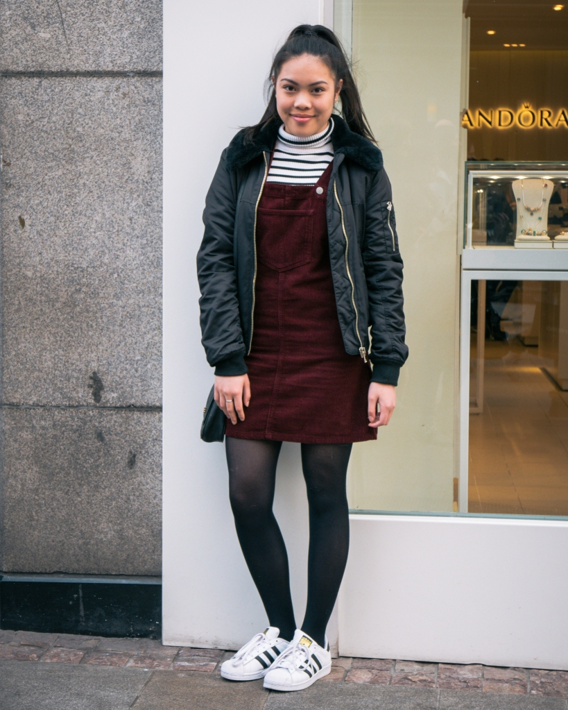 Girl in cord pinafore