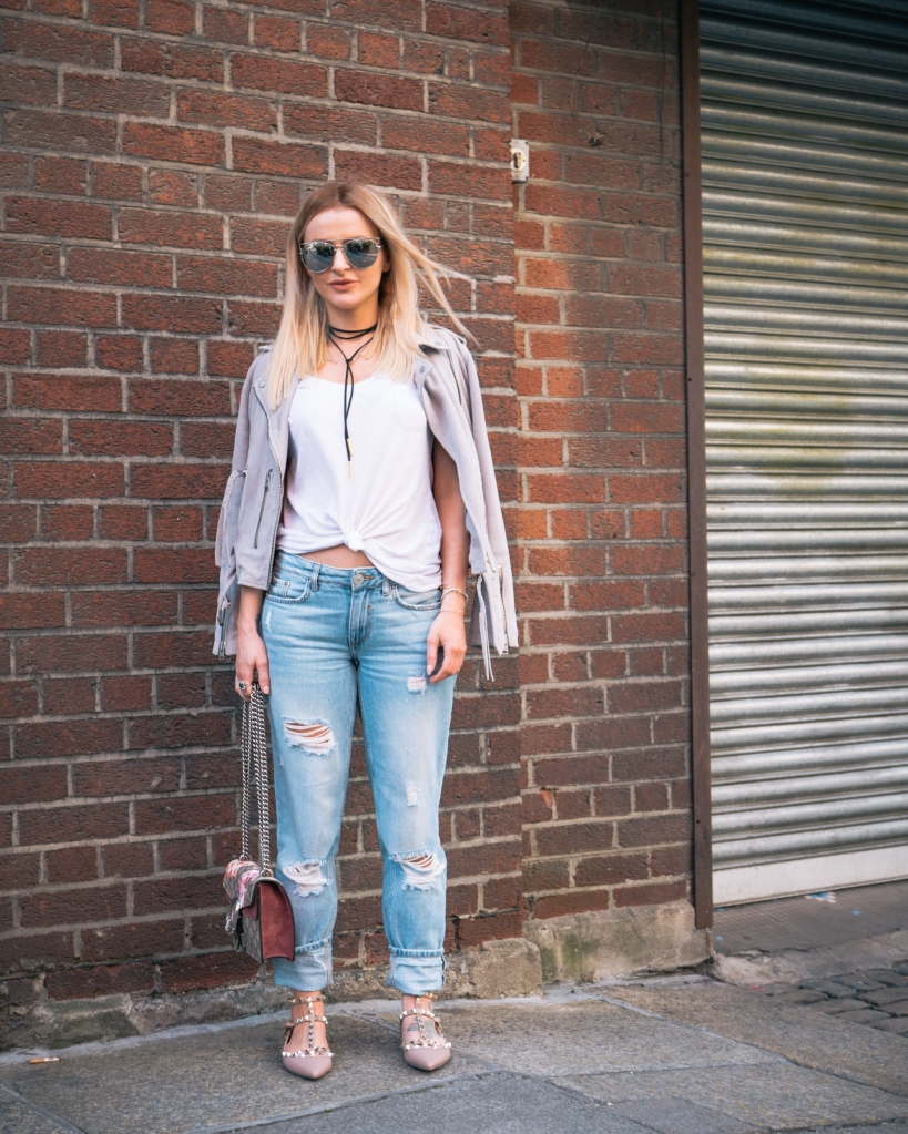 girl in ripped jeans in Dublin