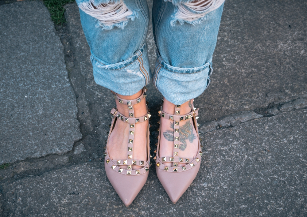 studded pink shoes