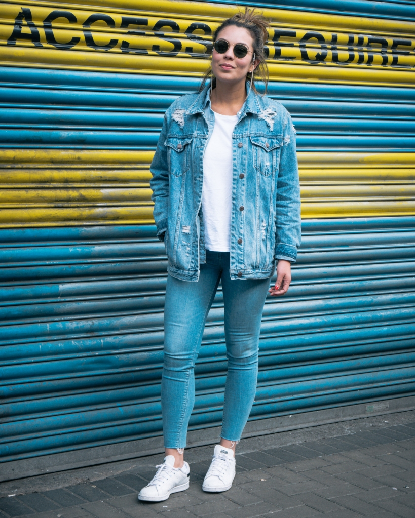 Girl in double denim in Dublin