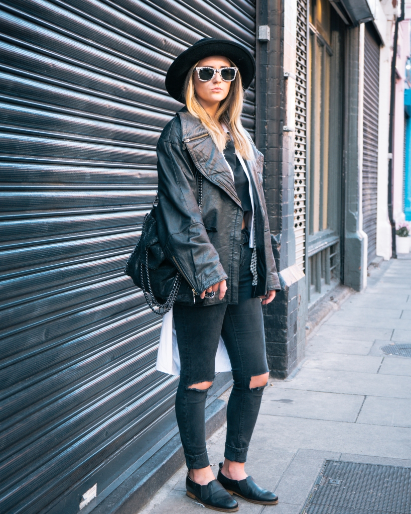 Fashionable girl in Dublin with hat and jeans