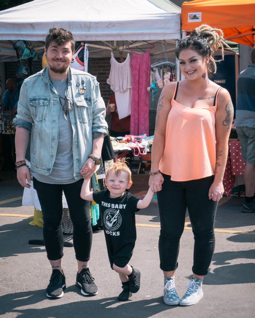 Family at an Irish market