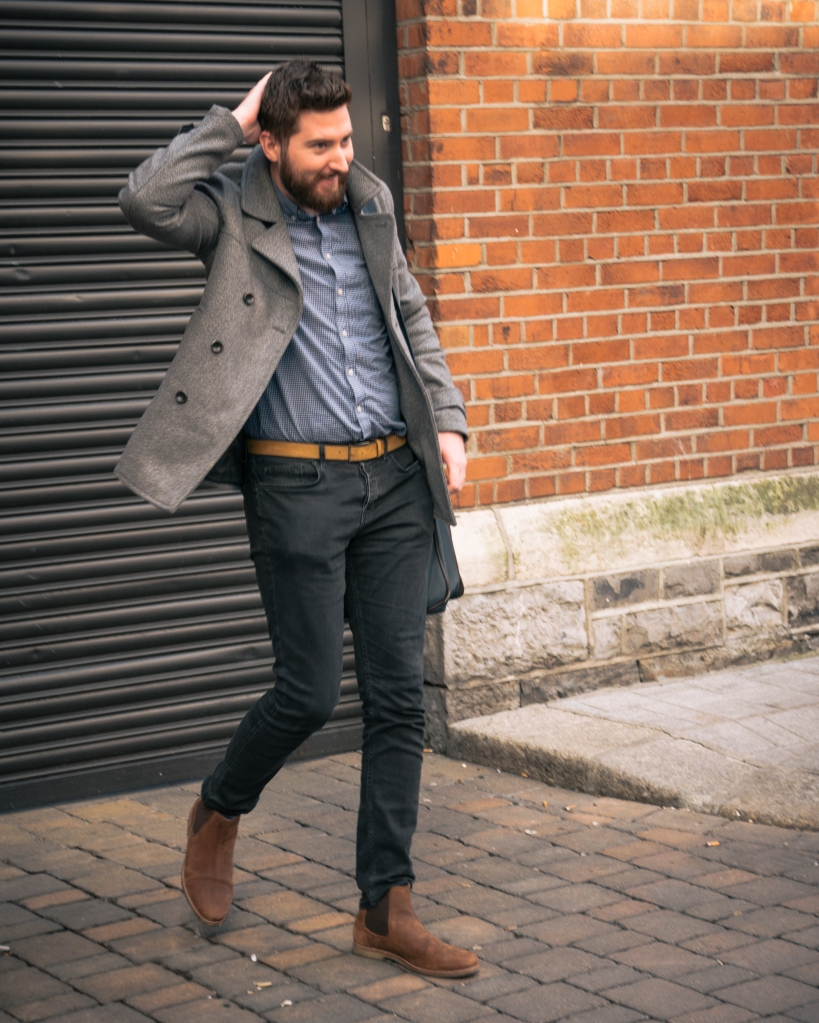 Irish man with beard walking in Dublin