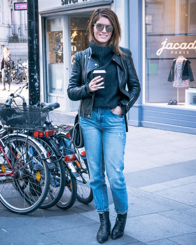 Biker jacket and boyfriend jeans